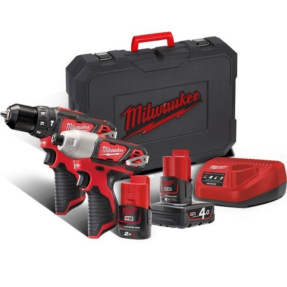 Image of MILWAUKEE M12BPP2B421C 12V TWIN KIT WITH 1 X 20AH & 1 X 40AH LIION BATTERIES