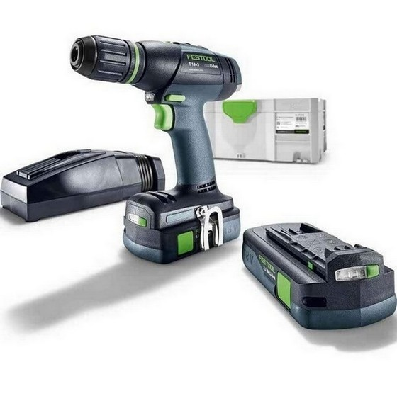 Image of FESTOOL 575597 T18 COMPACT S DRILL DRIVER WITH 2X 31AH LIION BATTERIES