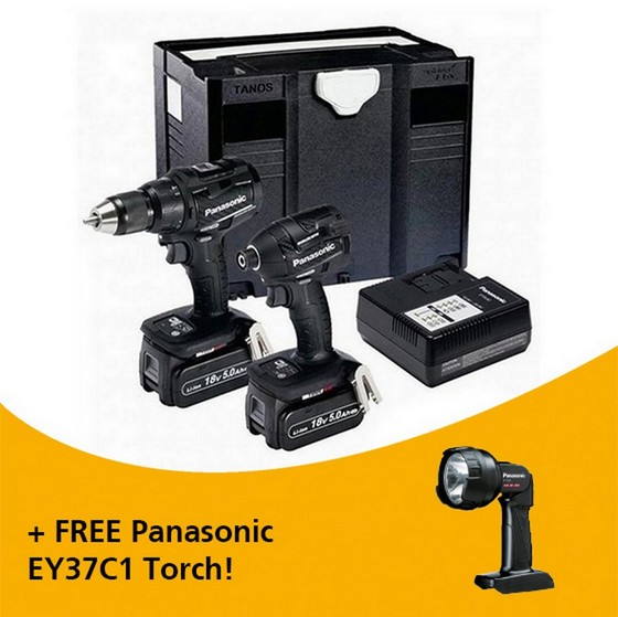Image of PANASONIC EYC225LJ2G31 DUAL VOLTAGE BRUSHLESS COMBI HAMMER DRILL IMPACT DRIVER KIT WITH 2X 50AH LIION BATTERIES IN SYSTAINER