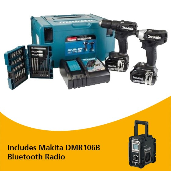 Image of MAKITA DLX2221BT2 18V COMBI DRILL & IMPACT DRIVER TWIN KIT WITH 2X 50AH LIION BATTERIES SPECIAL EDITION