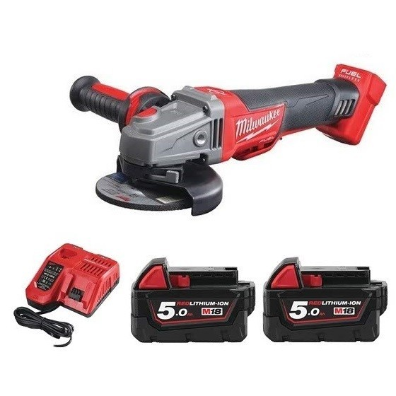 Image of Milwaukee M18cag115xpdb502bag 18v Brushless Angle Grinder With 2x 50ah Liion Batteries Supplied In Carry Bag