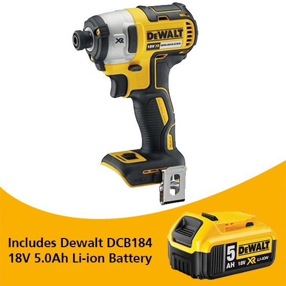 Image of DEWALT DCF887N 18V BRUSHLESS IMPACT DRIVER BODY ONLY WITH 1X 50AH LIION BATTERY