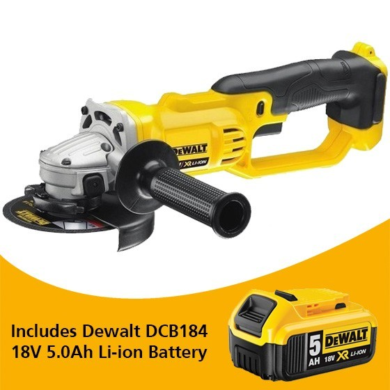 Image of DEWALT DCG412N 18V XR 125MM ANGLE GRINDER BODY ONLY WITH 1X 50AH LIION BATTERY