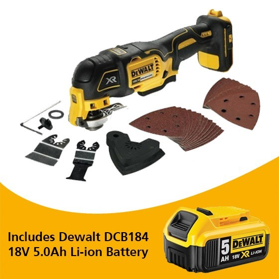 Image of DEWALT DCS355N 18V MULTI TOOL BODY ONLY SUPPLIED WITH 29 ACCESSORIES WITH 1X 50AH LIION BATTERY
