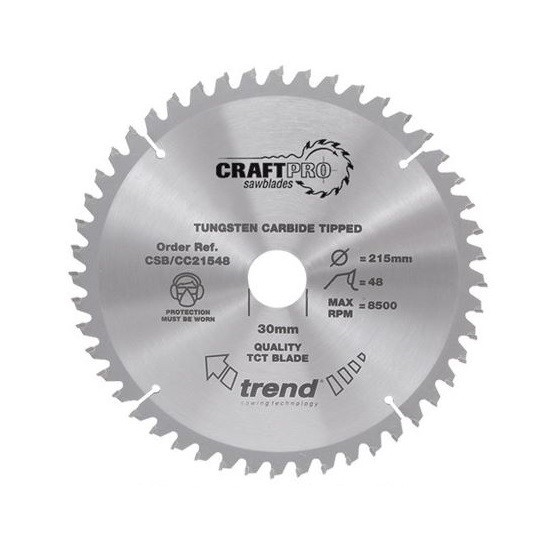 Image of Trend Csbcc21660 Mitre Saw Crosscutting Tct Circular Saw Blade 60tx30x216mm