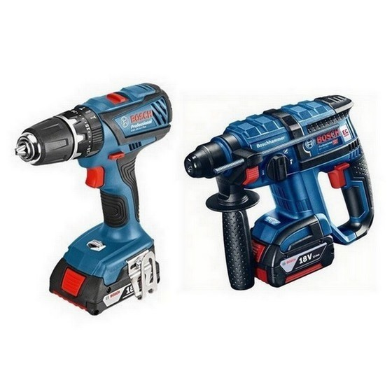 Image of BOSCH GBH18VECGSB182LI 18V COMBI TWIN PACK WITH 2X 30AH LIION BATTERIES IN CARRY BAG