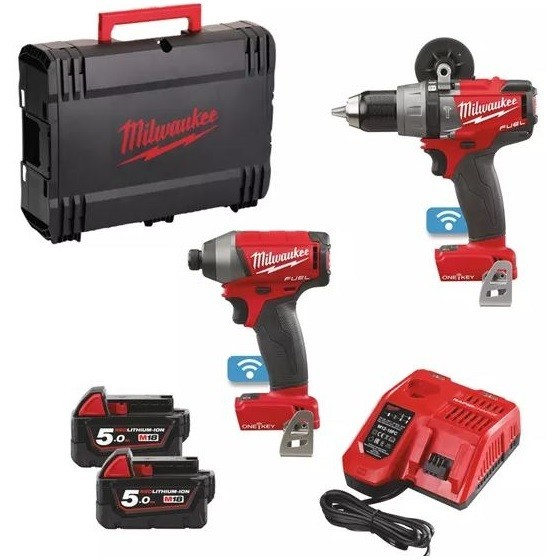 Image of MILWAUKEE M18ONEPP2A502X M18 ONE KEY TWIN PACK WITH 2X 50AH LIION BATTERIES