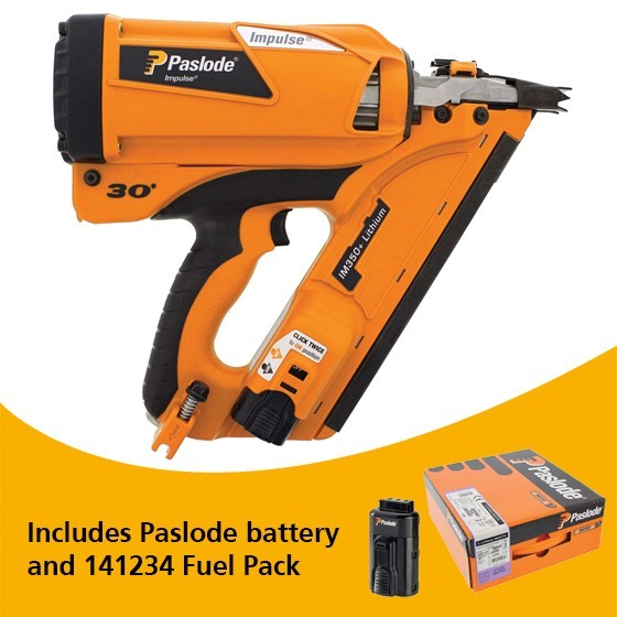 Image of PASLODE 905900 IM350 LIION 1ST FIX NAILER KIT DEAL WITH EXTRA BATTERY 141234 NAIL FUEL PACK