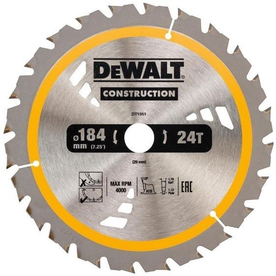 Image of DEWALT DT1951QZ CONSTRUCTION CIRCULAR SAW BLADE 24T X 20 X 184 MM