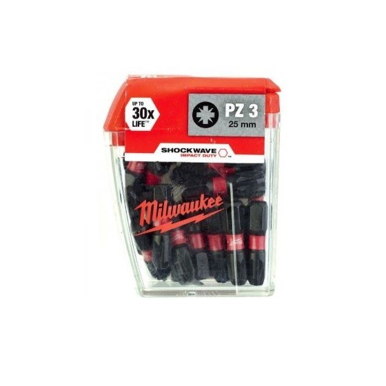 Image of MILWAUKEE 4932430869 SHOCKWAVE POZI SCREWDRIVER BITS PZ3 X 25 MM PACK OF 25
