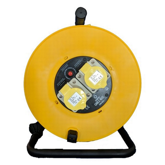 Image of Sempra Fc11025m250 Extension Cable Reel 25 Metre 25 Mm Cable Twin Outlet 110v