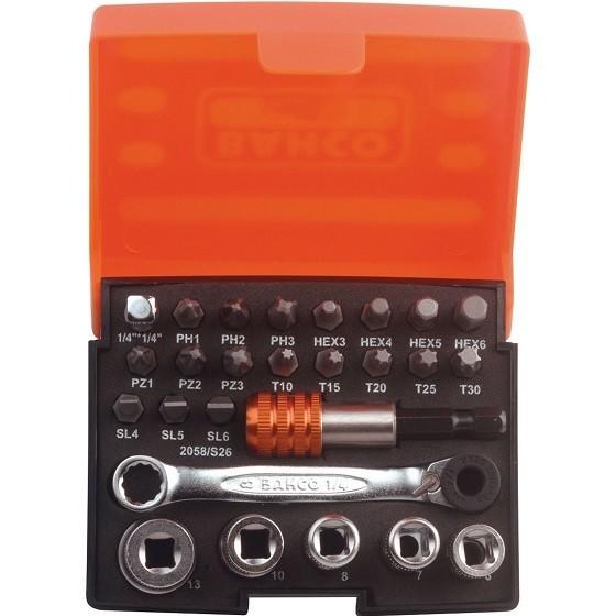 Image of Bahco Bah2058s26 26 Piece Ratchet Socket Bit Set