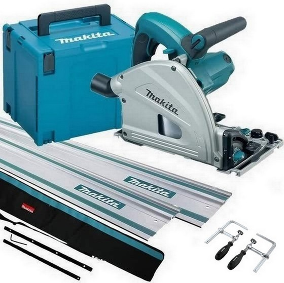 Image of MAKITA SP6000J1 165MM CIRCULAR PLUNGE SAW 110V WITH 2X 14M RAILS CONNECTOR RAIL BAG CLAMPS AND MAKPAC CASE