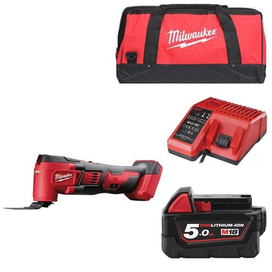Image of Milwaukee M18bmt501b 18v Multi Tool With 1x 50ah Liion Battery Charger & Canvas Bag