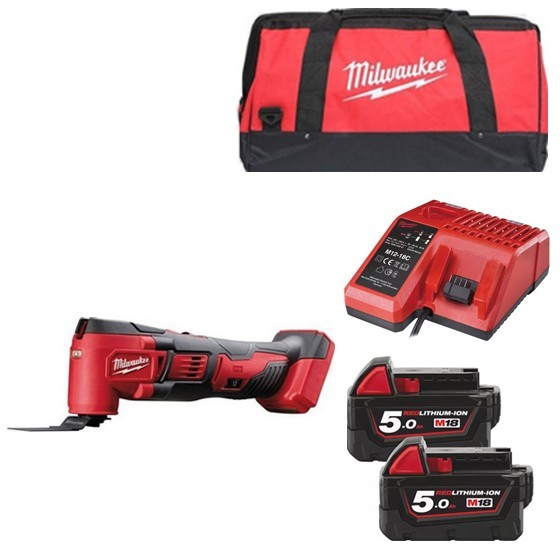 Image of Milwaukee M18bmt502b 18v Multi Tool With 2x 50ah Liion Batteries Charger & Canvas Bag