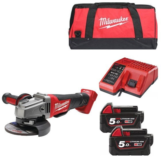 Image of Milwaukee M18cag115xpd502b 18v Brushless 115mm Angle Grinder With 2x 50ah Liion Batteries Charger & Canvas Bag