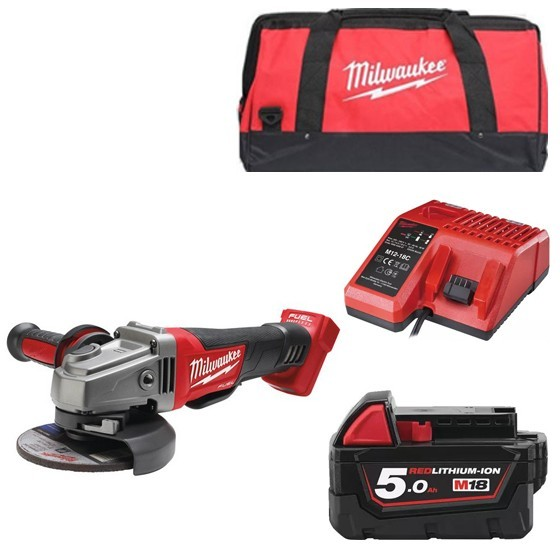Image of Milwaukee M18cag115xpd501b 18v Brushless 115mm Angle Grinder With 1x 50ah Liion Battery Charger & Canvas Bag