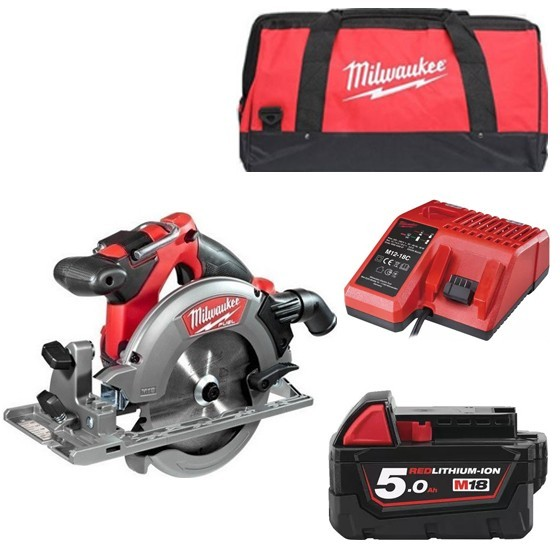 Image of Milwaukee M18ccs55501b 18v Brushless Circular Saw With 1x 50ah Liion Battery Charger & Canvas Bag