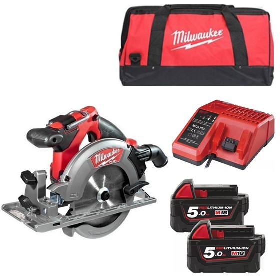Image of Milwaukee M18ccs55502b 18v Brushless Circular Saw With 2x 50ah Liion Batteries Charger & Canvas Bag