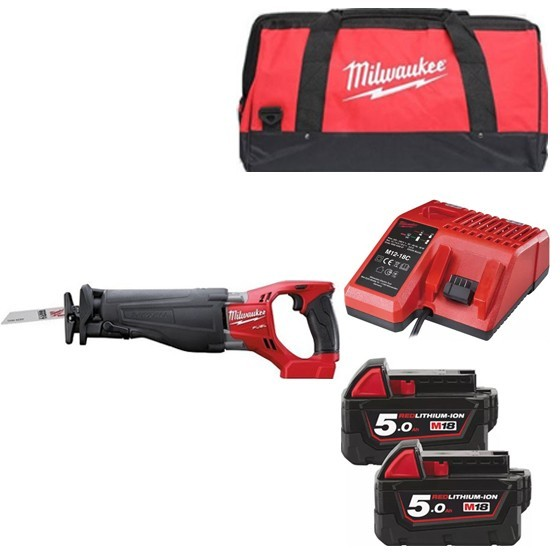 Image of MILWAUKEE M18CSX502B 18V BRUSHLESS SABRE SAW 2X 50AH LIION BATTERIES CHARGER & CANVAS BAG