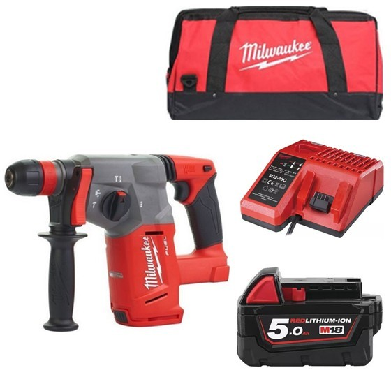 Image of MILWAUKEE M18CHX501B 18V BRUSHLESS SDS HAMMER DRILL WITH 1X 50AH LIION BATTERY CHARGER & CANVAS BAG