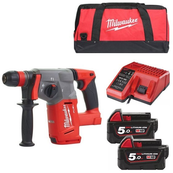 Image of MILWAUKEE M18CHX502B 18V BRUSHLESS SDS HAMMER DRILL WITH 2X 50AH LIION BATTERIES CHARGER & CANVAS BAG
