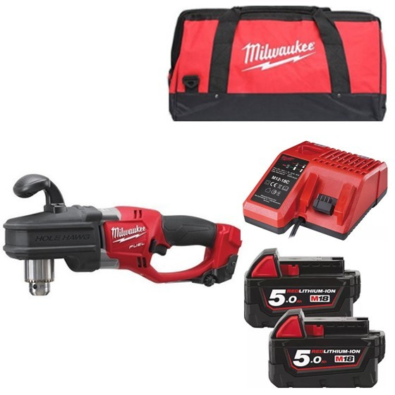 Image of Milwaukee M18crad502b 18v Brushless Hole Hawg Drill With 2x 50ah Liion Batteries Charger & Canvas Bag