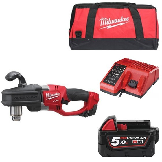 Image of Milwaukee M18crad501b 18v Brushless Hole Hawg Drill With 1x 50ah Liion Battery Charger & Canvas Bag