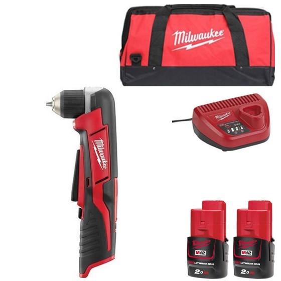 Image of MILWAUKEE C12RAD202B 12V RIGHT ANGLE DRILL WITH 2X 20AH LIION BATTERIES CHARGER & CANVAS BAG