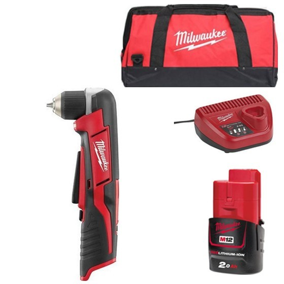 Image of MILWAUKEE C12RAD201B 12V RIGHT ANGLE DRILL WITH 1X 20AH LIION BATTERY CHARGER & CANVAS BAG