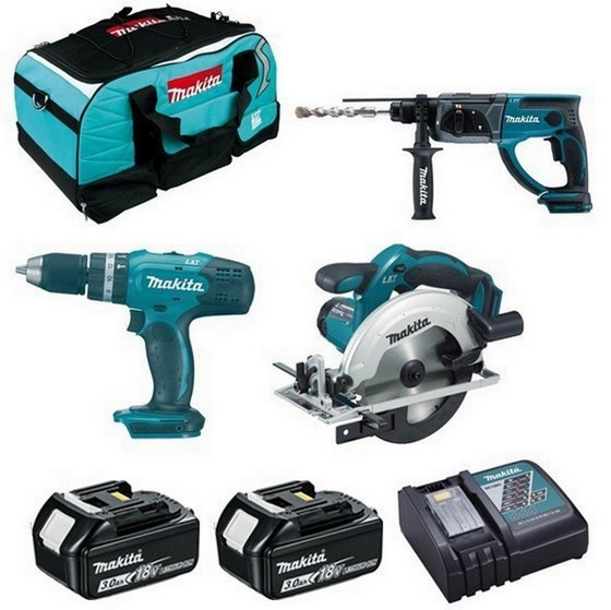 Image of Makita Dhp453dhr202dss611 18v Triple Kit With 2x 30ah Liion Batteries Charger & Bag