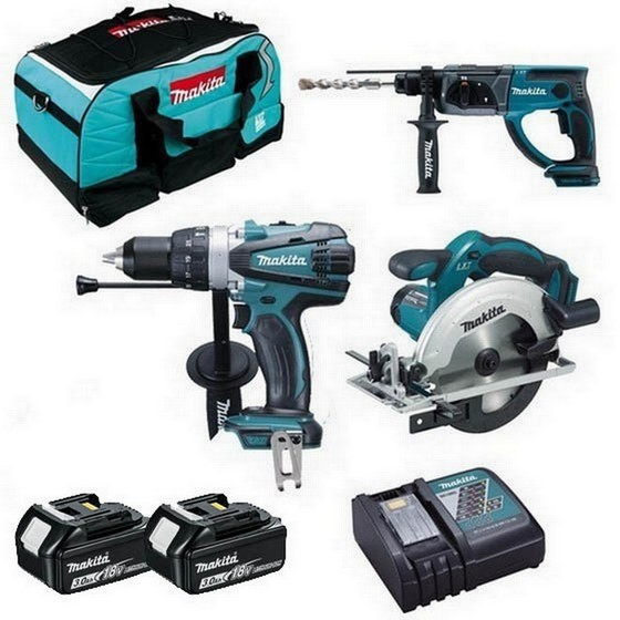 Image of Makita Dhp458dhr202dss611 18v Triple Kit With 2x 50ah Liion Batteries Charger & Bag