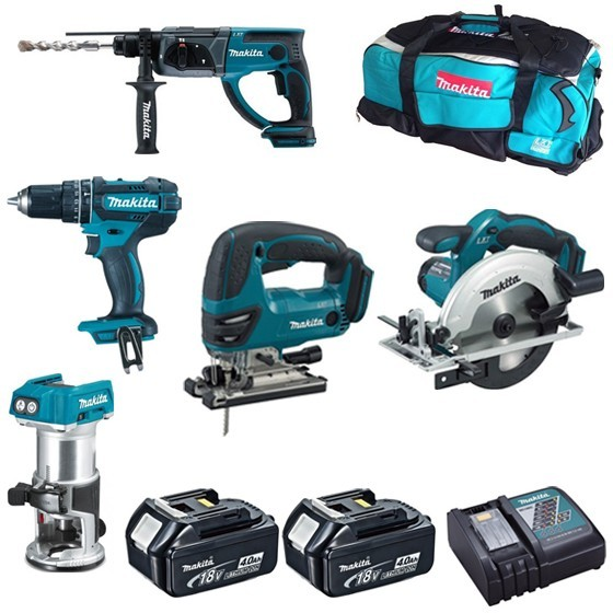 Image of MAKITA DHP482DRT50DKP180DJV180DSS611 18V PIECE KIT WITH 2X 40AH LIION BATTERIES CHARGER & BAG