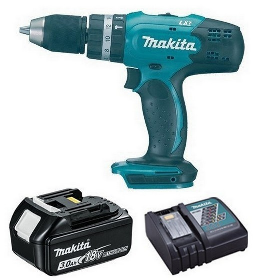 Image of Makita Dhp453r1 18v Combi Hammer Drill With 1x 30ah Liion Battery & Charger Supplied In Carton