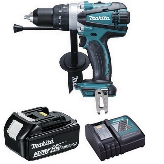 Image of Makita Dhp458r1 18v Combi Hammer Drill With 1x 30ah Liion Battery & Charger Supplied In Carton