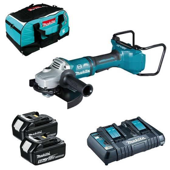 Image of Makita Dga900rt 18v Twin Battery 230mm Angle Grinder With 2x 50ah Liion Batteries & Dual Charger