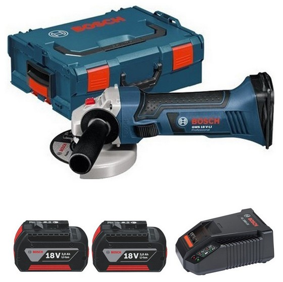 Image of BOSCH GWS18VLI 18V ANGLE GRINDER WITH 2X 30AH LIION BATTERIES SUPPLIED IN LBOX
