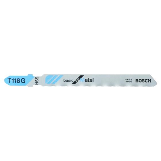 Image of Bosch 2608631012 Pack Of 5 T118g Metal Cut Jigsaw Blades 0515mm