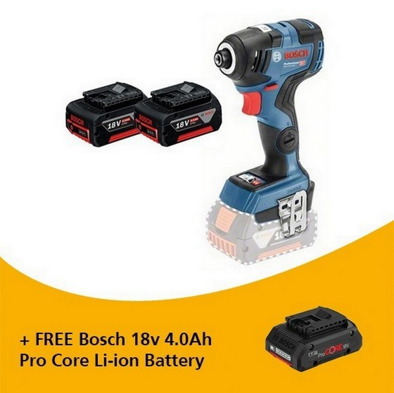 Image of BOSCH GDR18V200C 18V BRUSHLESS IMPACT DRIVER WITH 2X 50AH LIION BATTERIES