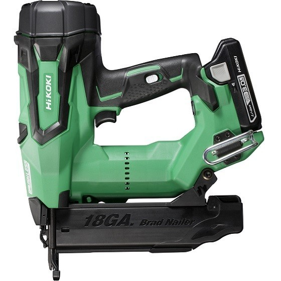 Image of Hikoki Nt1850dejxz 18v Brushless 2nd Fix 18 Gauge Straight Nail Gun With 2x 30ah Liion Batteries