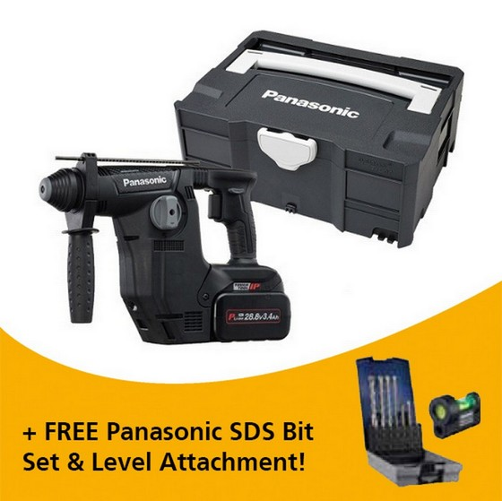 Image of PANASONIC EY7881PC2S31 288V BRUSHLESS SDS ROTARY HAMMER WITH 2X 34AH LIION BATTERIES
