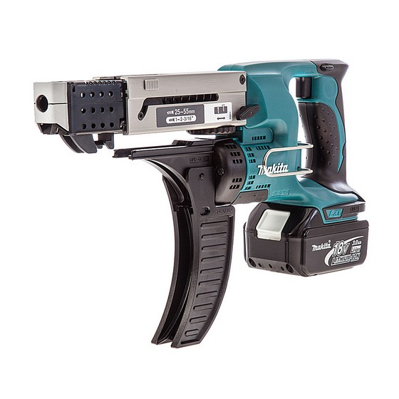 Image of Makita Dfr550rmj 18v 55mm Autofeed Screwdriver 2 X 40ah Liion Batteries