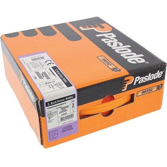 PASLODE 141210 63MM RING GALV-PLUS NAILS BOX 3300