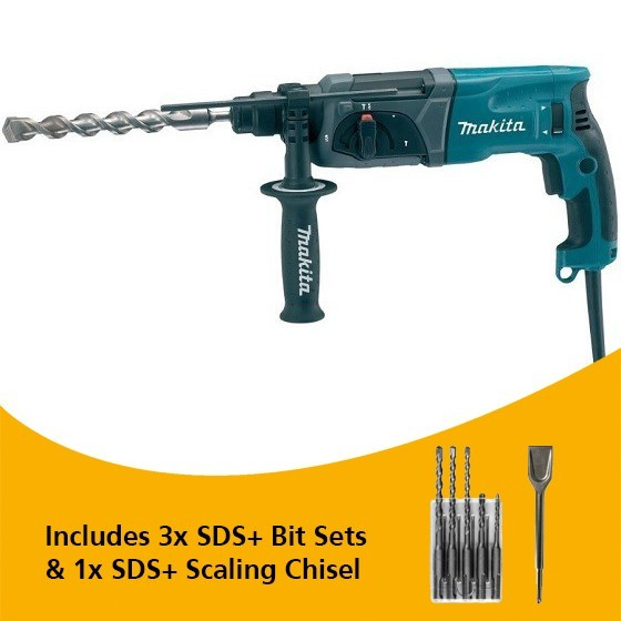 Image of MAKITA HR24701 SDS 3 FUNCTION HAMMER DRILL 240V WITH ACCESSORIES