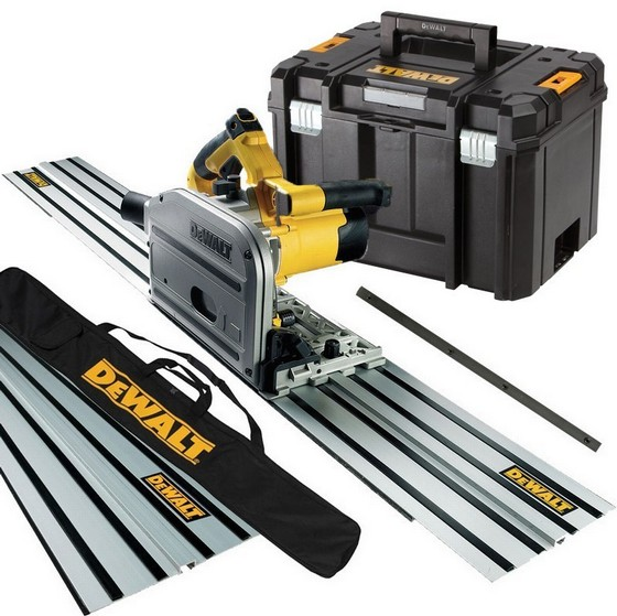 Image of DEWALT DWS520KT 240V PLUNGE SAW 2 X 15M GUIDE RAILS CONNECTOR & GUIDE RAIL BAG