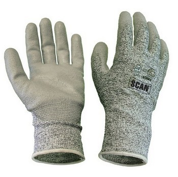 SCAN GREY PU COATED CUT 5 LINER GLOVES