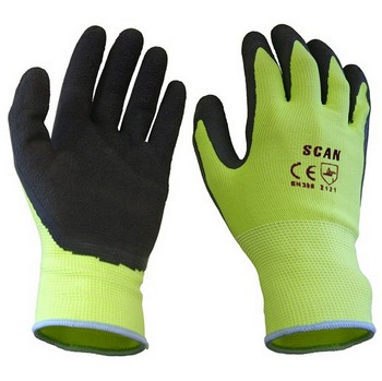 SCAN YELLOW FOAM LATEX COATED GLOVES 13G (SIZE 9)