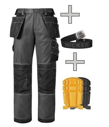 SNICKERS 3212 DURATWILL TROUSER WORK PACK BLACK / GREY WITH KNEE PADS & BELT (30 INCH LEG)
