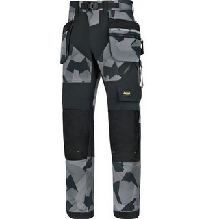 SNICKERS 6902 FLEXI TROUSERS GREY CAMO (30 INCH LEG)
