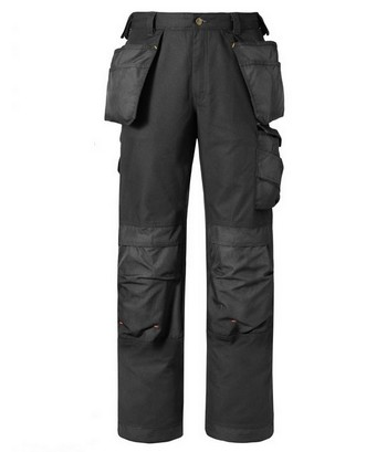 SNICKERS CANVAS+ TROUSERS WITH HOLSTER BLACK (30 INCH LEG)